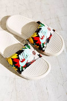 nike floral white sandals