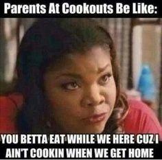 Mo'Nique, cookouts, parents