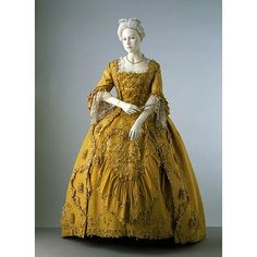Sack-back gown 1760, British, Made of silk and linen