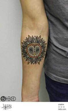 Very creative owl tattoo would like something similar with a wolf/husky face