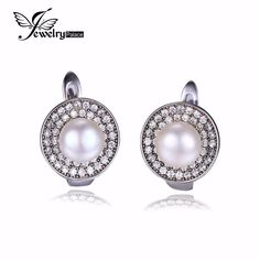 Natural 925 Sterling Silver Freshwater Pearl Earrings Clip