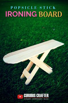 Step-by-step guide to creating this popsicle stick… Popsicle stick ironing board. Step-by-step guide to creating this … Popsicle Stick Crafts House, Popsicle Sticks, Craft Stick Crafts, Barbie House Furniture, Doll Furniture, Sticks Furniture, Diy Doll Miniatures, Diy Dollhouse, Popsicles