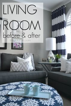 Bold and Bright Living Room Makeover - before & after Crazy what this room looked like before!