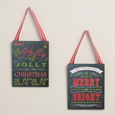Chalkboard Christmas Message Signs, Set of 2 | World Market