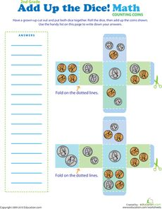 Printable money dice. Good way to liven up learning