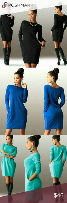 """Beautiful Casual Lightweight Dress With Pockets Beautiful Black Dress With Pockets Made Of Polyester.  Three Colors Available, Black, Blue, And Royal Blue   Small Will Fit Size 4, Bust 32.3"""", Sleeves 23.2"""", Waist 14.6"""", Length 33.9"""".  Medium Will Fit Size 8, Bust 33.9"""", Sleeves 23.6"""", Waist 15"""", Length 34.3  Small X 2 Medium X 2  Fast Shipping!! Thank You!! Boutique  Dresses Long Sleeve"""