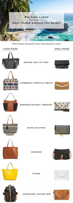 Packing Light. What Purse to bring on Vacation? Travel light. #packinglight #travellight #vacation