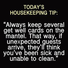 Haha!  Important house cleaning tip. Maybe the best cleaning tip ever!