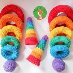 Două turnuri curcubeu se grăbesc să plece către doi fraț Montessori Toddler, Montessori Activities, Crochet Toys, Crochet Baby, Stacking Toys, Learning Colors, Rainbow Colours, Photo And Video, My Favorite Things