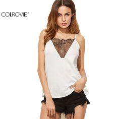 COLROVIE Women Fashion Korean Street Fashion Sleeveless Women Top White Contrast Lace Insert Cutout Back Cami Top Camisole