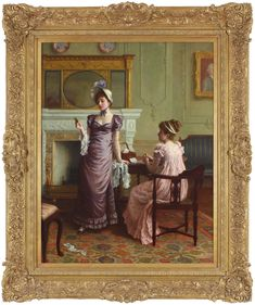 """A museum quality oil on canvas painting by Charles Haigh-Wood (1856-1927) entitled """"The Keepsake"""".  It depicts two finely dressed ladies in an interior. Oil On Canvas, Artworks, Museum, Fine Art, Antiques, Wood, Interior, Painting, Antiquities"""