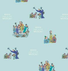 Roald Dahl The Witches Fabric, Blue Witches Fabric, Nursery Fabric, Halloween Nursery Fabric, Nursery Curtains, Quilting Fabric Uk, Blue Fabric, Cotton Fabric, Roald Dahl, Rescue Dogs, Fabric Crafts, Witches