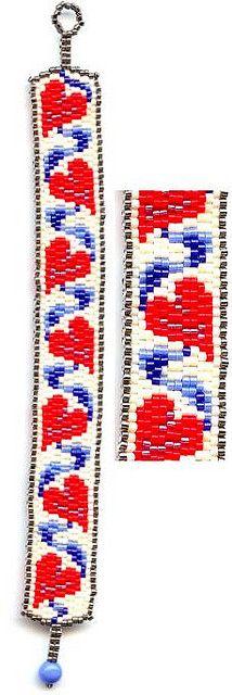 Red Hearts Beaded Bracelet