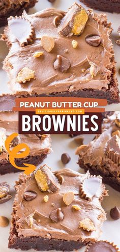 Whip up this chocolate dessert idea! Topped with frosting, peanut butter cups, and peanut butter chocolate chips, these chocolate fudge brownies are so good. No one would ever guess this easy brownie recipe started from a box mix! Peanut Butter Cup Brownies, Chocolate Fudge Brownies, Peanut Butter Desserts, Peanut Butter Cups, Chocolate Chips, Chocolate Desserts, Summer Dessert Recipes, Fun Desserts, Delicious Desserts