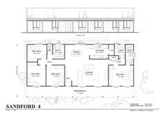 4 Bedroom Home Floor Plans | Sanford 4 - Met-Kit Homes - 4 Bedroom Steel Frame Kit Home Floor Plan ...