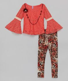Another great find on #zulily! Coral Bell-Sleeve Tunic Set - Toddler & Girls #zulilyfinds