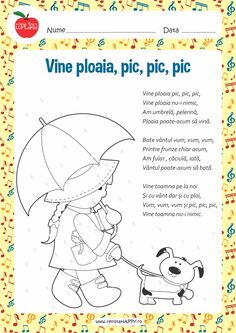Vine ploaia Motor Skills Activities, Montessori Activities, Infant Activities, Activities For Kids, Kids Reading, Kids Education, Nursery Rhymes, Preschool Crafts, Kids And Parenting