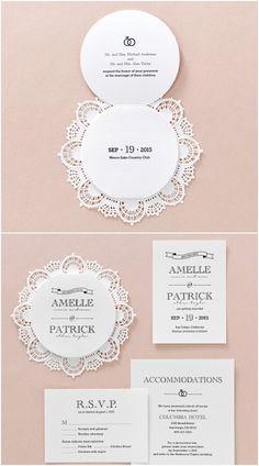 Lasercut Lace Circular Trifold Wedding Stationery by B Wedding Invitations