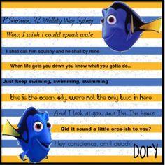 65 Ideas For Quotes Disney Nemo Friends Disney Fun, Disney Magic, Disney Movies, Disney Pixar, Disney Stuff, Dory Quotes, Movie Quotes, Funny Quotes, It's Funny