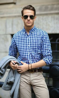 Buisness casual- Blue checked shirt & chinos