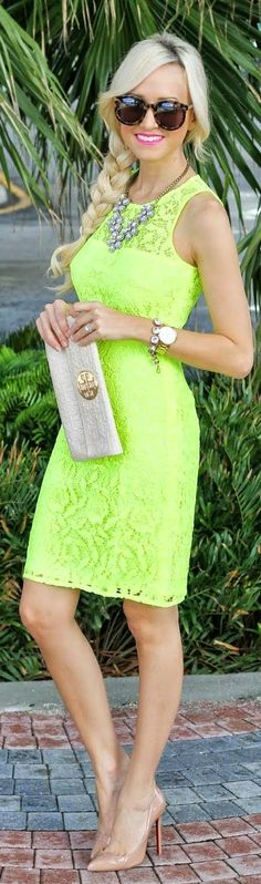 Summer fashion: Yellow Bodycon Lace Shift Dress
