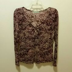 Pretty long sleeve sheer top Pretty maroon and gray long sleeve top with cute button detail in front. Looks cute with a lacey tank underneath. Maurices Tops Tees - Long Sleeve