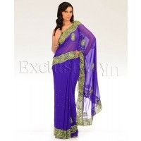 #Exclusively.in, #Indian Ethnic wear, Royal Purple Embellished Paisley Sari