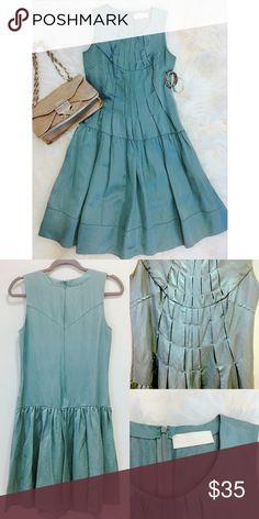 "Bensoni Pleated Detailed Dress Bensoni contemporary sleeveless knee length dress.  Center back zipper closure with hook& eye, and has side pockets!      100% Silk.      Size-Small.     Length: 39 1/2"".     Chest: 36"" Bensoni Dresses Midi"