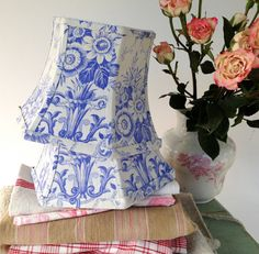 Periwinkle Lamp Shade  Lampshade French Toile  by lampshadelady