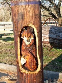 Amazing wooden chainsaw art