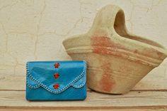 Etsy のBlue Genuine Goat Leather Coin purse / Card case / Business card holder(ショップ名:SaharartDouz)
