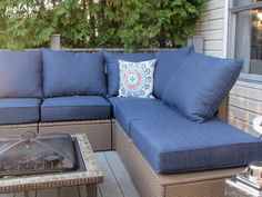 The Ikea cushions are kinda chintzy but I love how Chelsea at Pinterior Designer used thicker Lowes Allen + Roth outdoor cushions to beef up her Ikea sectional Outdoor Living Patios, Outdoor Balcony, Outdoor Spaces, Balcony Ideas, Porch Ideas, Outdoor Loveseat, Outdoor Cushions, Ikea Outdoor, Outdoor Decor
