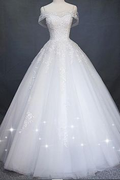 White Princess Off Shoulder Tulle Wedding Dress, Floor Length Appliqued Bridal Dress This dress could be custom made, there are no extra cost to do custom size and color Princess Wedding Dresses, Long Wedding Dresses, Tulle Wedding, Cheap Wedding Dress, Bridal Dresses, Wedding Shoes, White Princess Dress, Barbie Wedding Dress, Disney Wedding Dresses