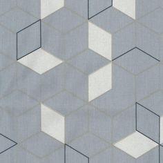 Toile cirée bleu-gris motif cubes carrés bleu marine et blanc