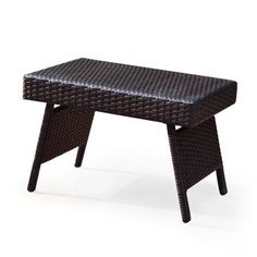 Adeco Dark brwon Folding Wicker Side Table