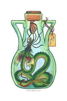 Bottled: Frilled Thornwyrm by emmalazauski.deviantart.com on @DeviantArt