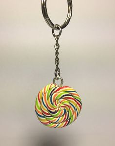 Lollypop candy key chain, Polymer Clay food key chain by SuddenGoods on Etsy
