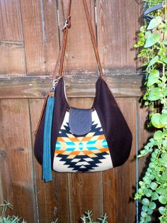 Native American Leather Tote  Pendleton Wool Fabric  Leather Bag Purse
