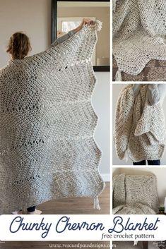 Chunky Chevron Crochet Blanket Pattern - Chunky Crochet Blanket