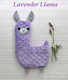 Lavender Llama, hot/cold plush tutorial - The Crafty Quilter Baby Sewing Projects, Sewing For Kids, Sewing Crafts, Fabric Pen, Minky Fabric, Fabric Samples, Quilt Patterns, Sewing Patterns, Doll Patterns