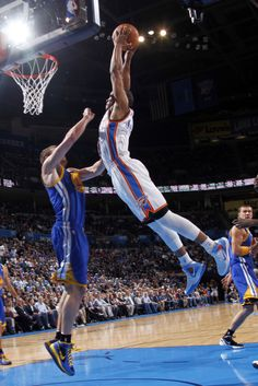 c2301dda132a73 Russell Westbrook racks one versus Golden State. Westbrook Dunk