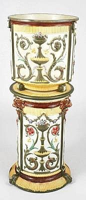 WEDGWOOD MAJOLICA English, Circa 1880 Jardiniere on Pedestal Stand