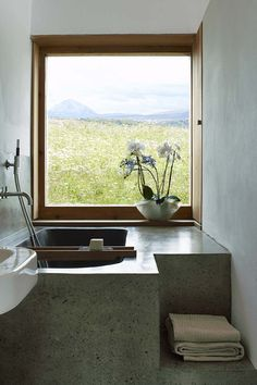 Donaghy + Dimond, House for Musicians, Carrickfin, 2007 www. Concrete Bath, Timber Windows, Earth Homes, Courtyard House, Polished Concrete, Wet Rooms, Beautiful Bathrooms, Bathroom Inspiration, A Boutique
