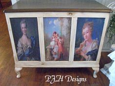 See step by step how an ordinary plain chest was transformed into this with chalk paint and decopodge. Many steps involved but they are all listed and you must see the sides of the chest - just beautiful. PJH Designs One of A Kind Vintage & Antique Furniture & Home Decor: Old World Blanket Chest