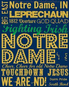 Notre Dame Fighting Irish Subway Art