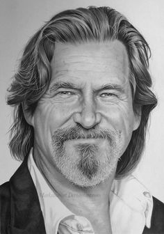 "Realistic drawing of Jeff Bridges by Mark Stewart.  This is about how he looked in remake of ""True Grit"", but needs a cowboy hat!"