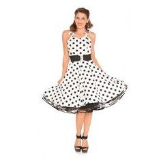 3 pc 50's Vintage Style Dress - Halter White w/ Black Polka Dot - WH211