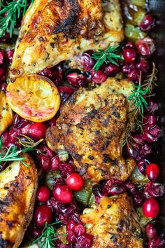 You'll love this baked garlic cranberry chicken! Loads of flavor from fresh minced garlic, rosemary, and citrus. Super easy to make, but what a show-stopping dish! Grab the recipe today. #chicken #christmasdinner #holidaydinner #bakedchicken #roastedchicken #cranberries #cranberry #cranberryrecipes #glutenfreerecipes #roastchicken #bakedchicken #cranberrychicken Garlic Rosemary Chicken, Baked Garlic, Balsamic Chicken, Cranberry Chicken, Cranberry Recipes Dinner, Fall Dinner Recipes, Cooking Recipes, Healthy Recipes, Simple Recipes