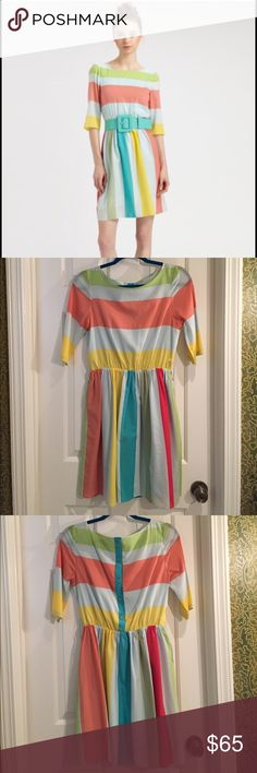 Alice + Olivia Anita Stripe Spring Dress S Gorgeous dress - worn once & I cannot find that hideous belt - I didn't wear it with that belt. I have the extra button / tag as well Alice + Olivia Dresses Mini
