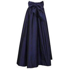 Preowned 2000's Catherine Regehr Navy Silk Taffeta Ballgown Skirt (765 AUD) ❤ liked on Polyvore featuring skirts, blue, floor length skirts, silk taffeta skirt, navy skirt, pocket skirt and navy blue skirt
